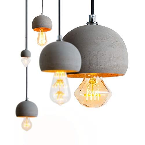 Addison Vintage Pendelleuchte E27 Beton Lampe Pendellampe Esstisch Hängelampe LED Deckenleuchte Betonlampe Hängeleuchte für Wohnzimmer Esszimmer Restaurant Bar Flur Cafe, 1-Flammig