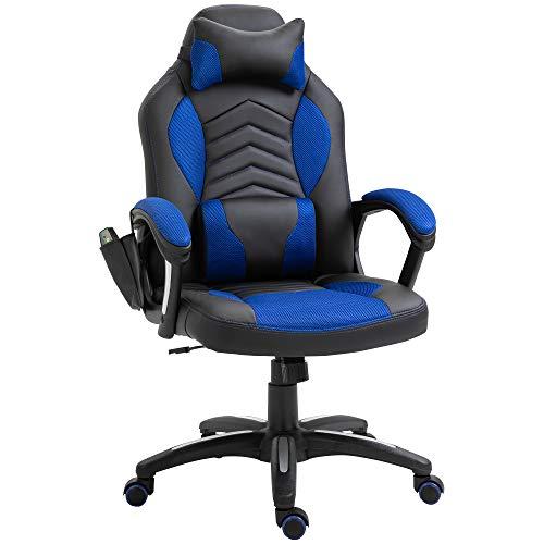 HOMCOM Bürostuhl Massagesessel Gaming Stuhl Wärmefunktion 6 Vibrationspunkte PU Blau 68 x 69 x 108-117cm
