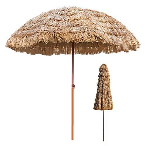 KUWD Hula Thatched Tiki Umbrellas, Tiltable Outdoor Straw Parasols, Hawaii Umbrellas, Used in Garden, Courtyard, Beache, 2.4M, 3M