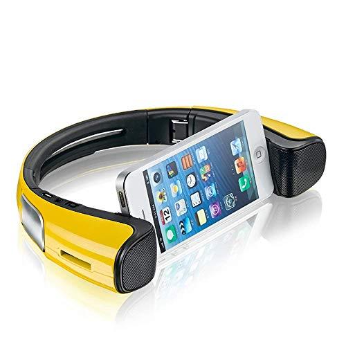 LIUJIE Tragbare Bluetooth-Lautsprecher mit Handy-Ständer Dock Hals tragbarer drahtloser Lautsprecher-Smartphone-Halter, faltbar um den Hals Design-Geschenke für Android iOS,Gelb