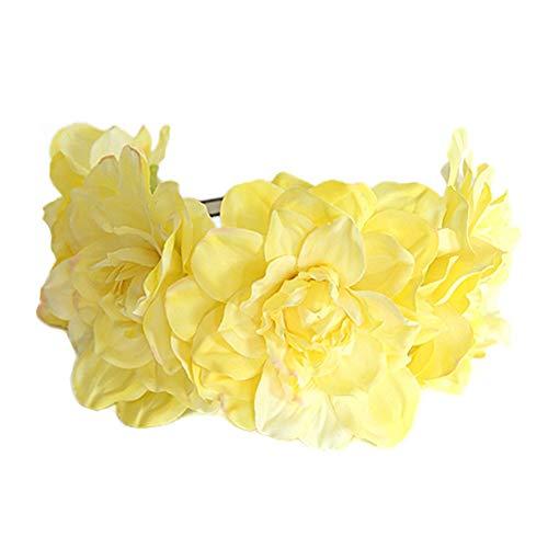 YAZILIND Neue Simulation Stoff Große Blume Stirnband Braut Brautjungfer Kranz Kopfschmuck Fotografie Haarschmuck Gelb
