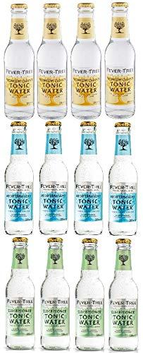 12 Flaschen Fever-Tree 3 Sorten Mix a 0,2 L ink. MEHRWEG Pfand (4 x Indian Tonic Water, 4x Mediterran, 4x Edelflower)