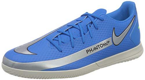 Nike Phantom GT Club IC, Football Shoe Hombre, Photo Blue Metallic Silver-Rage Green-Black, 41 EU