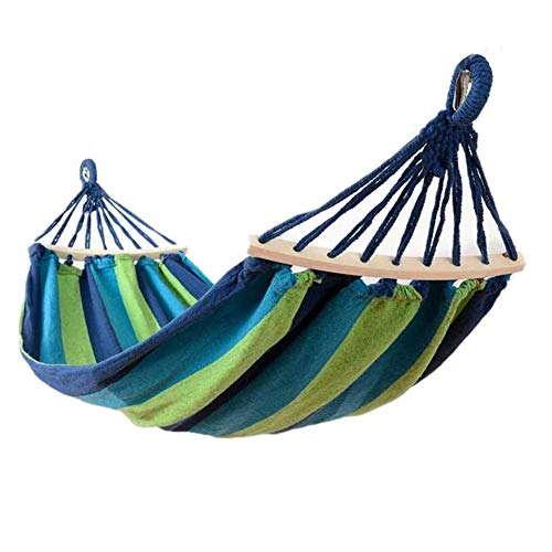 BLING Outdoor Canvas Hammock with 80CM Wooden Rods, 290x150CM Hammock for Garden Yard Camping Beach Patio, Load 300KG,Blue