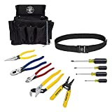 Klein Tools 92911 Tool Kit, Apprentice Tool Set with 4 Pliers, Wire Stripper and Cutter, 4 Screwdrivers, Tool Belt and Tool Pouch, 11-Piece