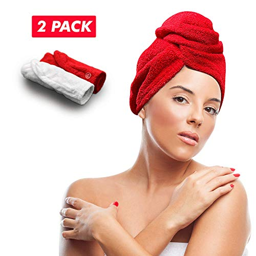 Keepoz Hair Towel Wrap Quick Dry 100% Cotton Super Absorbent Turban Head Wrap for Women with Button, Anti Frizz Hair Products, Hair Cap for Curly, Long & Thick Hair (2pcs) (Red+White)