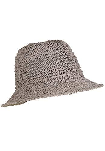 LOEVENICH Damen Fedora, sommerlicher Häkelhut aus Papier-Stroh, Farbe: Silbergrau