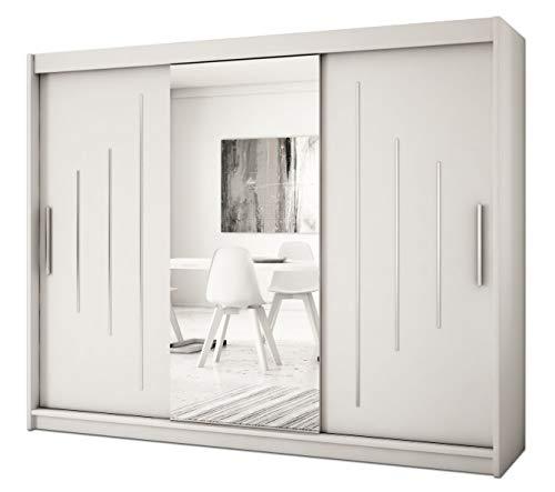 Kryspol Schwebetürenschrank York 1-250 cm mit Spiegel Kleiderschrank mit Kleiderstange und Einlegeboden Schlafzimmer- Wohnzimmerschrank Schiebetüren Modern Design (Weiß)