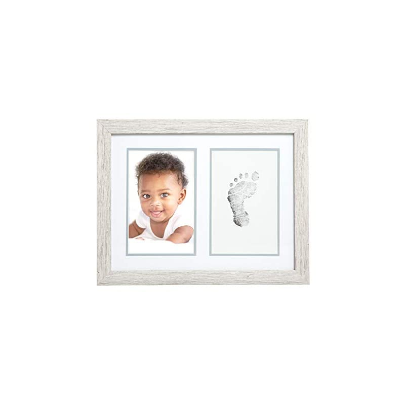 crib bedding and baby bedding kate & milo rustic baby footprint photo frame and ink kit, woodland nursery décor, rustic picture frames