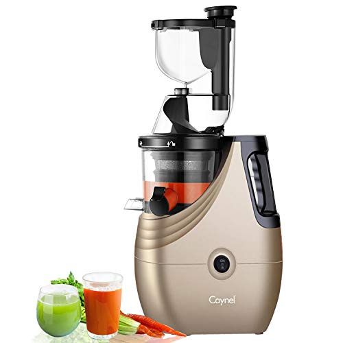 "Slow Masticating Juicer Caynel Cold Press Extractor with 3"" Wide Chute for Fruits, Vegetables and Herbs, Quiet Durable Motor with Reverse Function, High Yield Vertical Juicer Easy Cleaning, BPA Free"