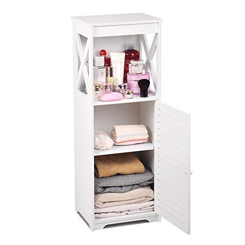 Wasserdichter Badezimmerschrank, weiß, Badezimmer-Aufbewahrungsregal, Organizer mit täglicher Schicht und 1 Schranktür (X Style)
