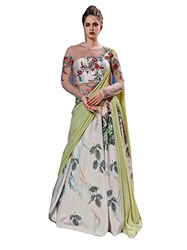 Verde Floral impreso Indo Western Christian Wedding & Festival de seda drapeado vestido vestido 1146, forro polar verde con licencia oficial de star wars silent one crew., X-Large