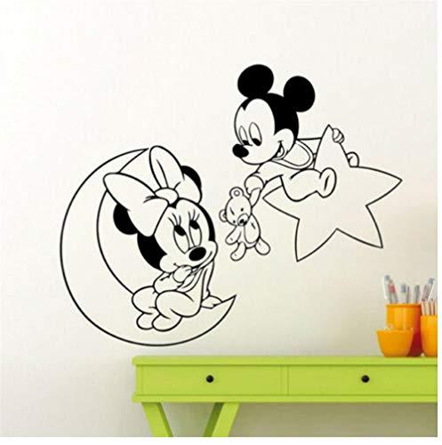 Pegatinas pared,Ratón oso luna DIY PVC decoración