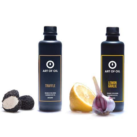 ART OF OIL Gourmet Geschenkset | Bio Olivenöl mit Zitrone Knoblauch & Trüffel Olivenöl je 200ml | Geschenk für Hobbyköche & Dankeschön Geschenke