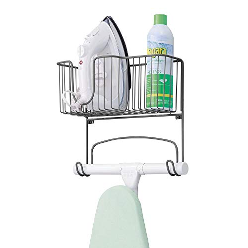 mDesign Metal Wall Mount Ironing Board Holder with Large Storage Basket - Easy Installation, Holds Iron, Board, Spray Bottles, Starch, Fabric Refresher for Laundry Rooms - Graphite Gray