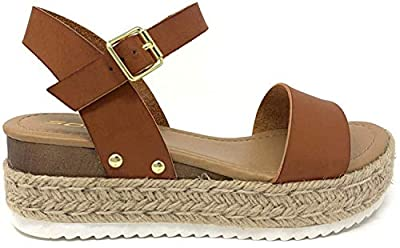SODA Womens JDTopic2 Casual Espadrilles Trim Rubber Sole Flatform Studded Wedge Buckle Ankle Strap Open Toe Sandals Tan, 7