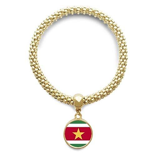 DIYthinker Womens Suriname nationale vlag Zuid-Amerika Land gouden armband ronde hanger sieraden ketting