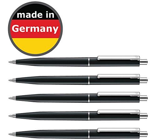 allpremio 50 Stück Kugelschreiber schwarz Qualität – Mine SCHWARZ Strichstärke M – dokumentenecht nach ISO 12757-2 – Sparpack Druckkugelschreiber mit Metall Clip nachfüllbar