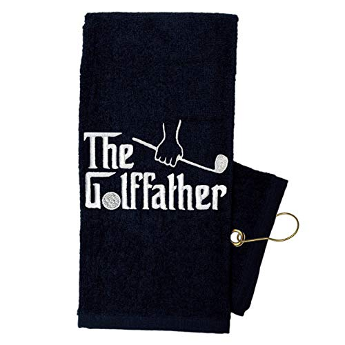 Golf Towel Store - Funny Golf Towels for Men, 100% Cotton 16 x 24 Tri-fold Black Golf Towel with Clip, Embroidered Golf Towels for Golf Bags with Clip (The Golffather)