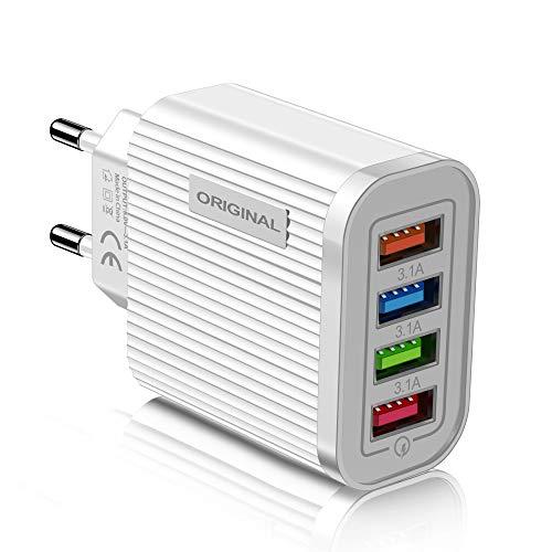 Universal EU Steckdose Adapter Steckdosenadapter USB 3.0 4.0 für Handy Computer Tablet-Wandadapter (White)