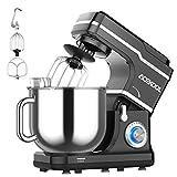 Robot Pâtissier 1400W, AceKool Bol 7L 10 Vitesses Robot pétrin multifonction, Batteur, Fouet, Crochet, Robot de cuisine(noir)