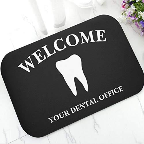 QPOWY Cool Personalized Dental Clinic Door Mat Novedad Custom Tooth Logotipo de la Empresa Bienvenido Alfombra Alfombra Felpudo Goma Lindo Odontología Regalo