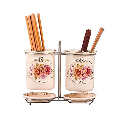 HQQ Tube Chopstick, Imprimé Or Design, Cuisine Égoutter Arts de la Table Rack de Stockage, Décoration d'intérieur