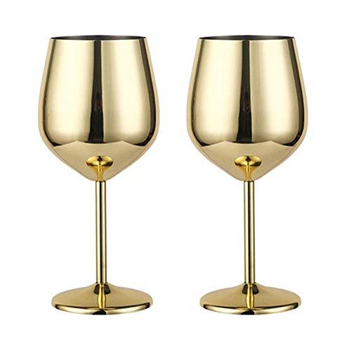 Edelstahl Rotweinglas Metall Stiel Weinglas bruchsicher Weißwein Cocktail Gläser unzerbrechlich BPA-frei Kelche Saft Getränk Champagner Kelch Party Barzubehör Küche Werkzeug Gold- 2 Stück