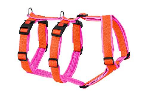 Greyhound Safe it™ Das Original Hundegeschirr, Hundesicherheitsgeschirr gepolstert - Panikgeschirr, 100% ausbruchssicher, 4 Größen, 10 x 10 Farbkombinationen(M, Orange/Pink)