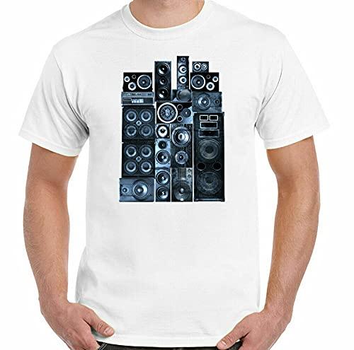 guannv DJ T-Shirt Speaker Stack Mens Loudspeaker Music Hi-FI Headphones Amp PA System Men White XXL