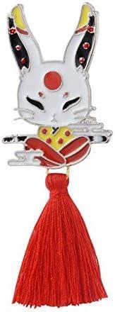 Japan Fox pin Deer Rabbit Snake Mask pins with Red Tassels Kabuki Ninja Brooch Enamel Pin Badges Gift for Kids Children - Rabbit