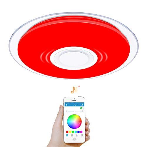 OFFDARKS - 36w/17.7in Plafóns LED/Lámparas de Techo con Altavoz Bluetooth, APP Mando a Distanci + Brillo Ajustable + Color Change (TQ 36w ⌀450mm/17.7in)