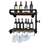 Industrial Wall Mounted Wine Racks with 4 Stem Glass Holder,24inch Rustic Metal Hanging Wine Holder Glass Rack,2-Tiers Floating Bar Shelves Bottle Holder Storage Shelves,Wood Shelves Wall Shelf