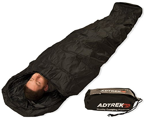 Adtrek Camping/Fishing Waterproof Sleeping Bag Bivvy Bag Cover, 235cm x 85cm, Carry Bag Included