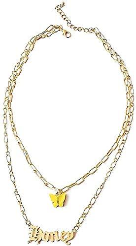 LKLFC Collar Hombre Collar Mujer Colgante Collar Nombre Collares Bohemios para Mujer Mariposa Garganta Colgante Collar Collares Joyería Regalos Collar Niños Niñas Regalo
