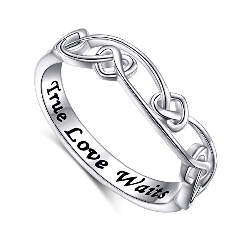 DAOCHONG S925 Sterling Silver Engraved True Love Waits Celtic Love Knot Ring for Women Girlfriend Wife Wedding Engagement Ring (7)