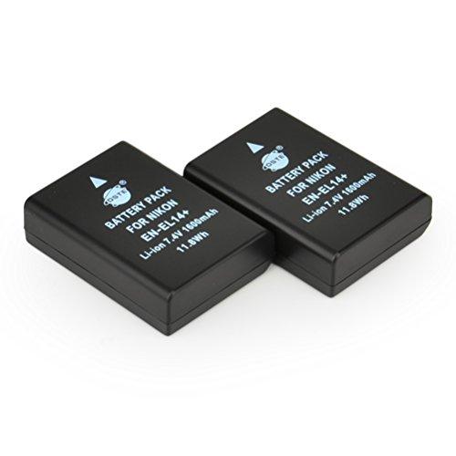 DSTE® 2x EN-EL14 Wiederaufladbare Li-Ionen Batterie Akku für Nikon DF D3100 D3200 D3300 D5100 D5200 D5300 D5500 Coolpix P7000 P7100 P7200 P7700 P7800 Kamera als EN-EL14A
