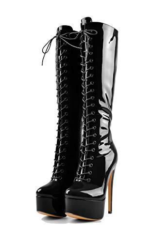 MissHeel Lack Plateau Stiefel Schnürung Damen Schwarz Schnürstiefel Absatz Kniehoch Stiefel Stiletto Sexy Overknee High Heels 45