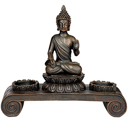 SVITA Buddha Figur Deko Statue Meditation inkl. Teelichthalter Buddhismus (Mitgefühl und Nächstenliebe)