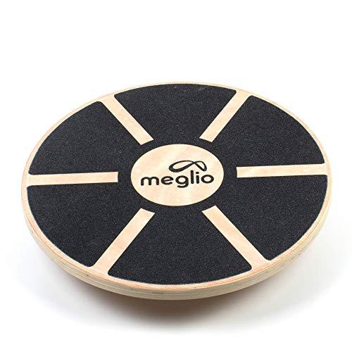 MEGLIO Balance Wobble Board in Legno, Design Antiscivolo Superficie - migliora l'equilibrio e la stabilità, Allenamento Fitness e Allenamento riabilita (Nero / Legna)