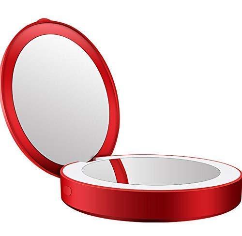 LINKDOO Miroir de Maquillage Rechargeable Portable Mini Miroir de Poche, Miroir LED, Miroir grossissant, lumière LED, lumière d'appoint, Cadeau
