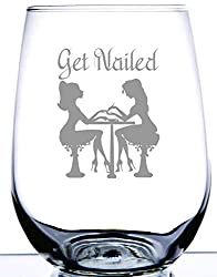 Laser Etched Engraved Wine Glass, This GET NAILED Stemless Wine Glass Is The Perfect Gift For Your Fingers & Toes Specialist