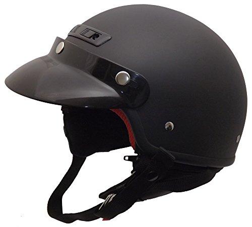 Core Helmets Deluxe Half Helmet (Flat Black, Large)