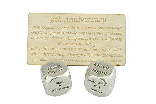 9 Year Anniversary Metal Date Night Dice - Create a Unique 9th Anniversary Date Night