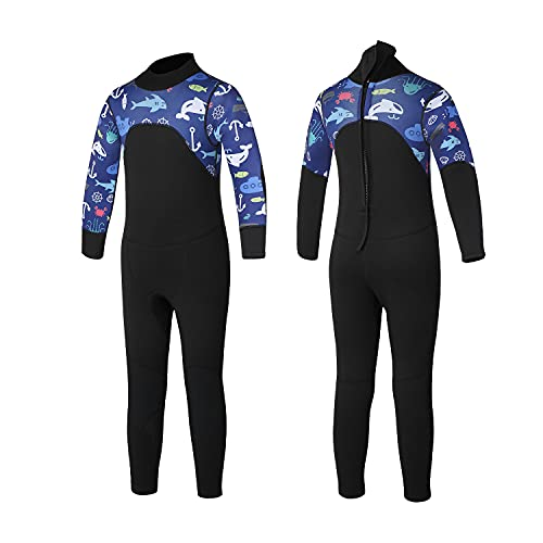 Kids Wetsuit for Boys and Girls,3mm Neoprene Long Sleeve Back Zip Wet Suit,Keep Children Warm in Cold Water, Suitable for All Kinds of Water Sports (Y-Kids,Kids Size 10)