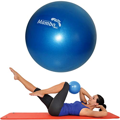 Mvs PALLA 21-23 cm MORBIDA +2 Tappi +Cannuccia, Pilates Ginnastica Yoga Gym SOFT OVER BALL - BLU