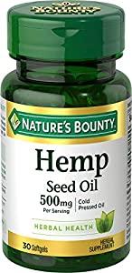 Hemp Seed Oil by Nature's Bounty, Herbal Supplement, 500mg Cold Pressed Oil, 30 Softgels