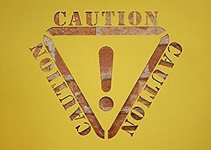 【紙製 ステンシル シート 大】 Caution ロゴマーク入り 危険 警告 塗装 型紙