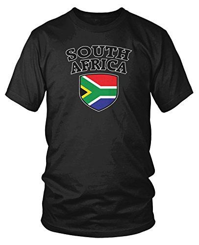 Amdesco Men's South African Flag Shield, South Africa Flag T-Shirt, Black 2XL