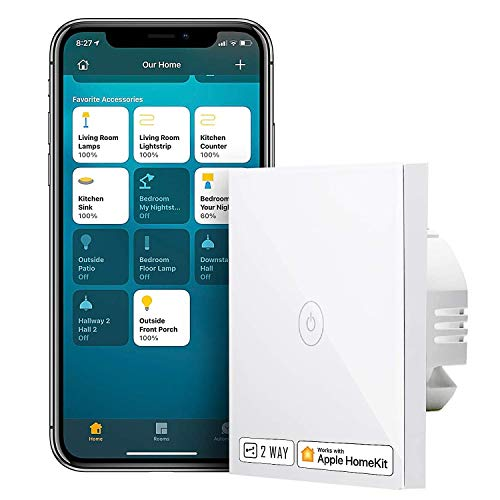 Interruptor de Pared Táctil Wi-Fi, 2 Vías, 1 Canal. Compatible con HomeKit Siri, Alexa, Google Assistant y SmartThings. meross. 2,4GHz (Se Requiere un Cable Neutral).